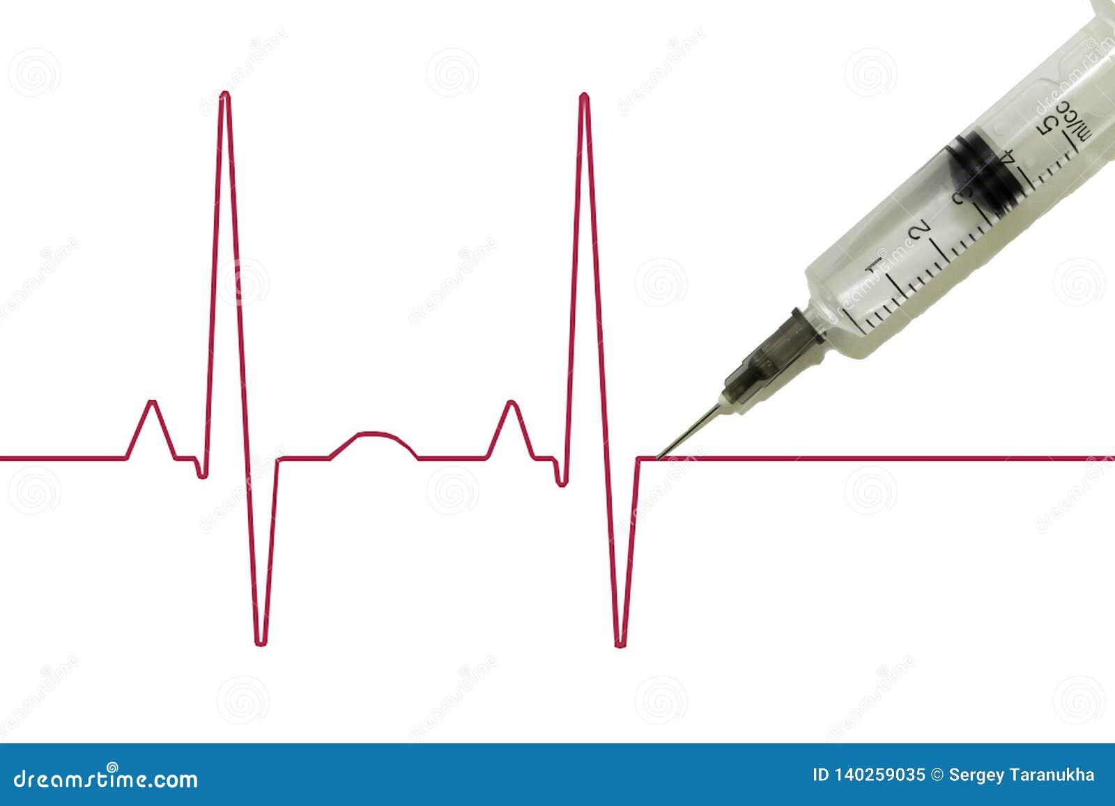 Euthanasie, Drogensucht, schematisches Kardiogramm des Impulses mit einer Spritze, die in sie, nachdem gehaftet wird, Tod tritt a