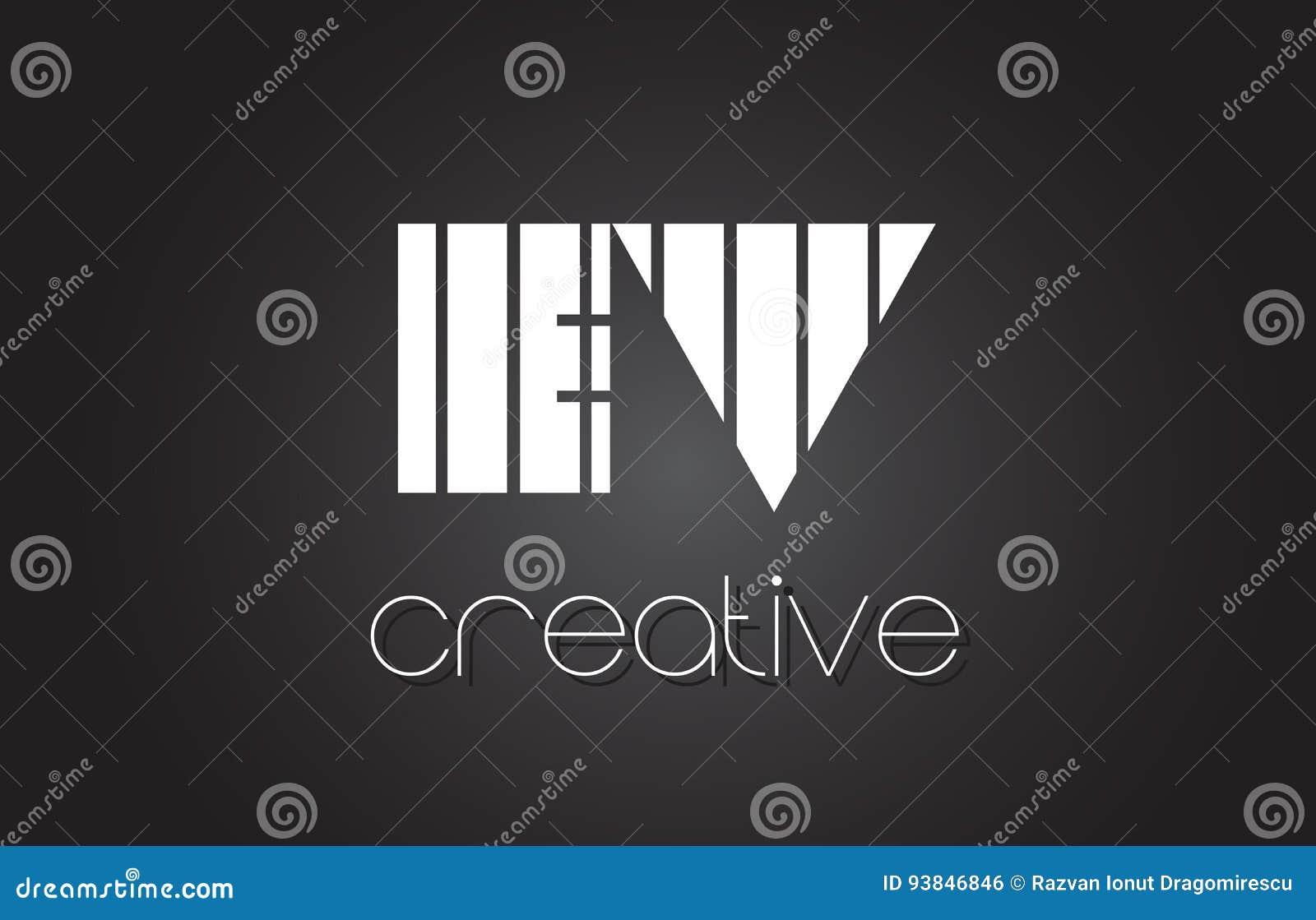 EV E V Creative Letter Logo Design With White And Black Lines