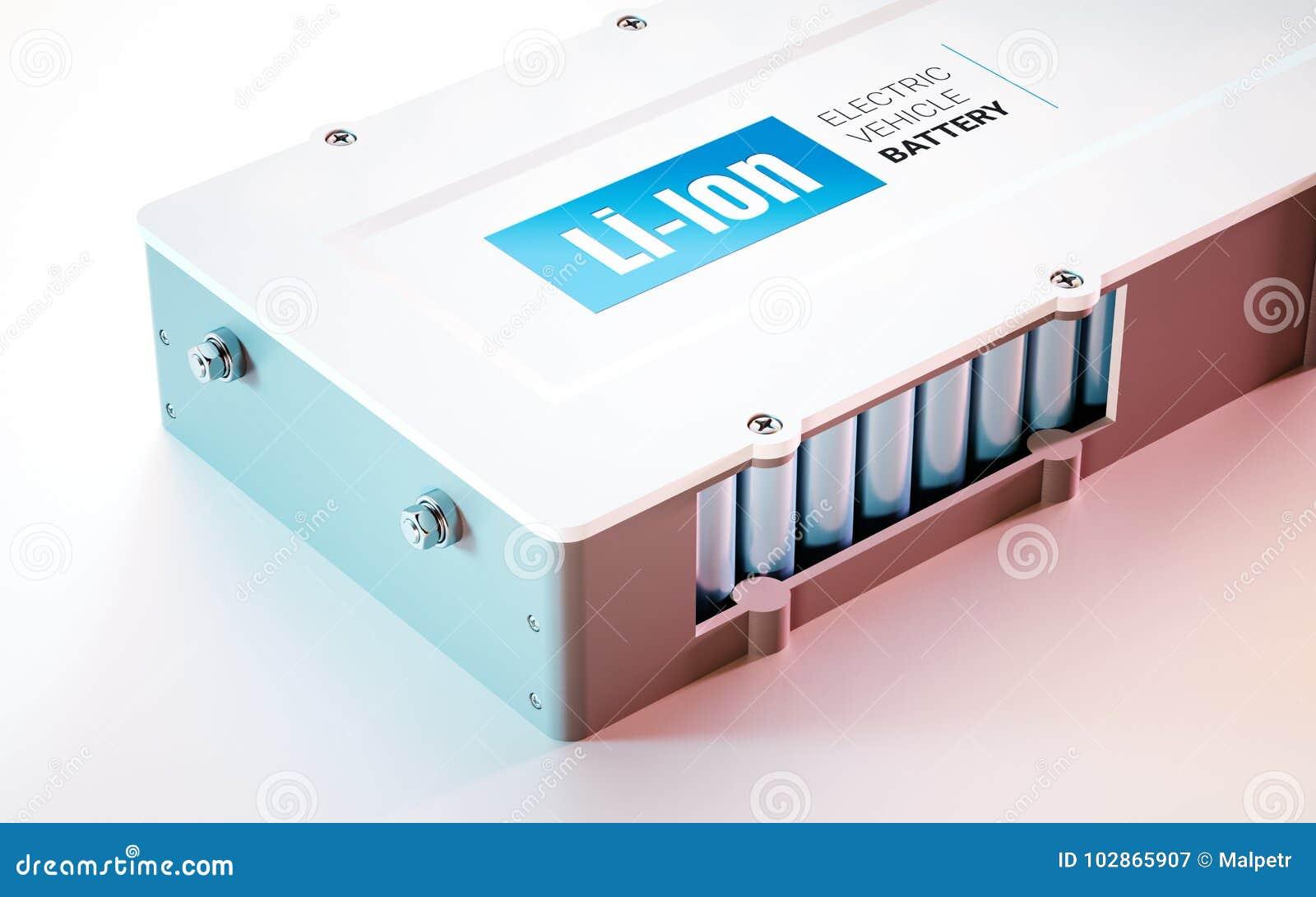 EV electric vehicle Li-Ion battery concept. Close up view. 3d