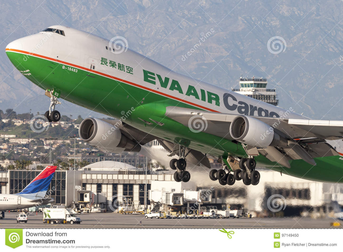 EVA Airways EVA Air Cargo Boeing 747 cargo aircraft taking off from Los Angeles International Airport.