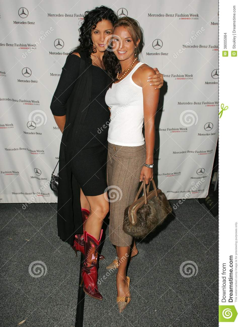 Eva Larue and her sister attending the first day of Mercedes-Benz    Eva Larue Sister