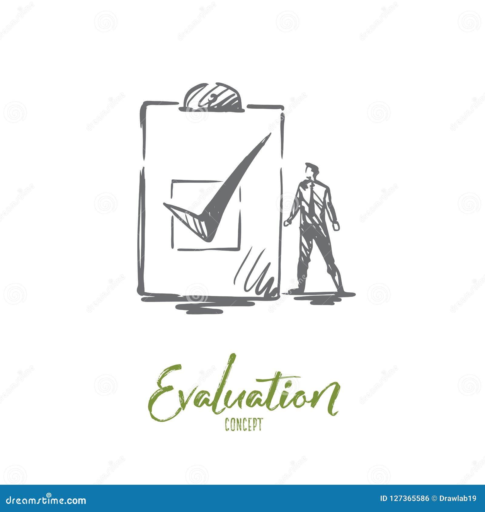 Evaluatie, zaken, kwaliteit, de dienstconcept Hand getrokken geïsoleerde vector