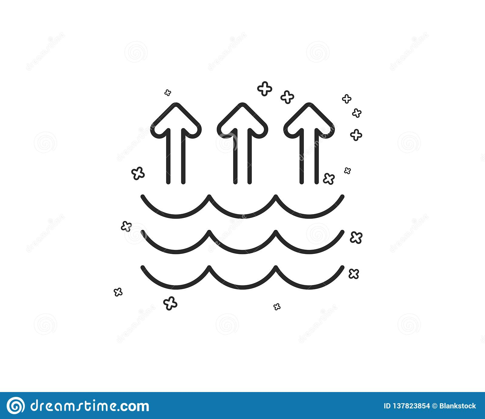 Evaporation Line Icon  Global Warming Sign  Vector Stock