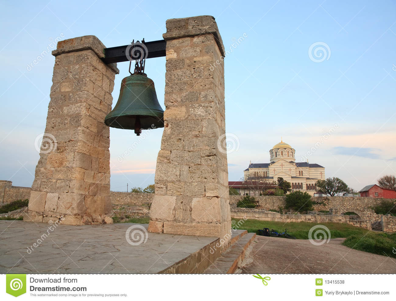 Evening the ancient bell of Chersonesos