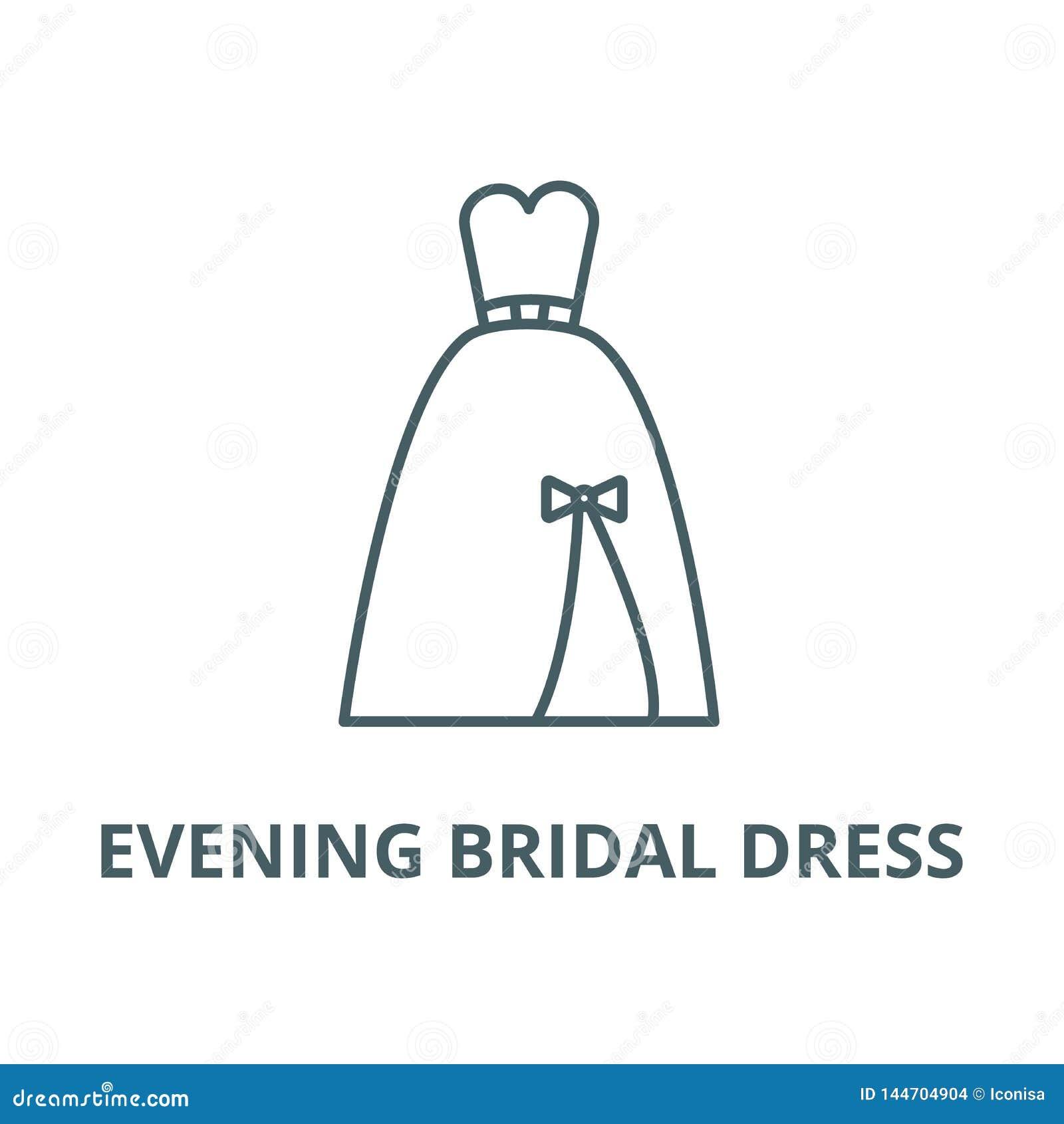 Evening bridal dress line icon, vector. Evening bridal dress outline sign, concept symbol, flat illustration