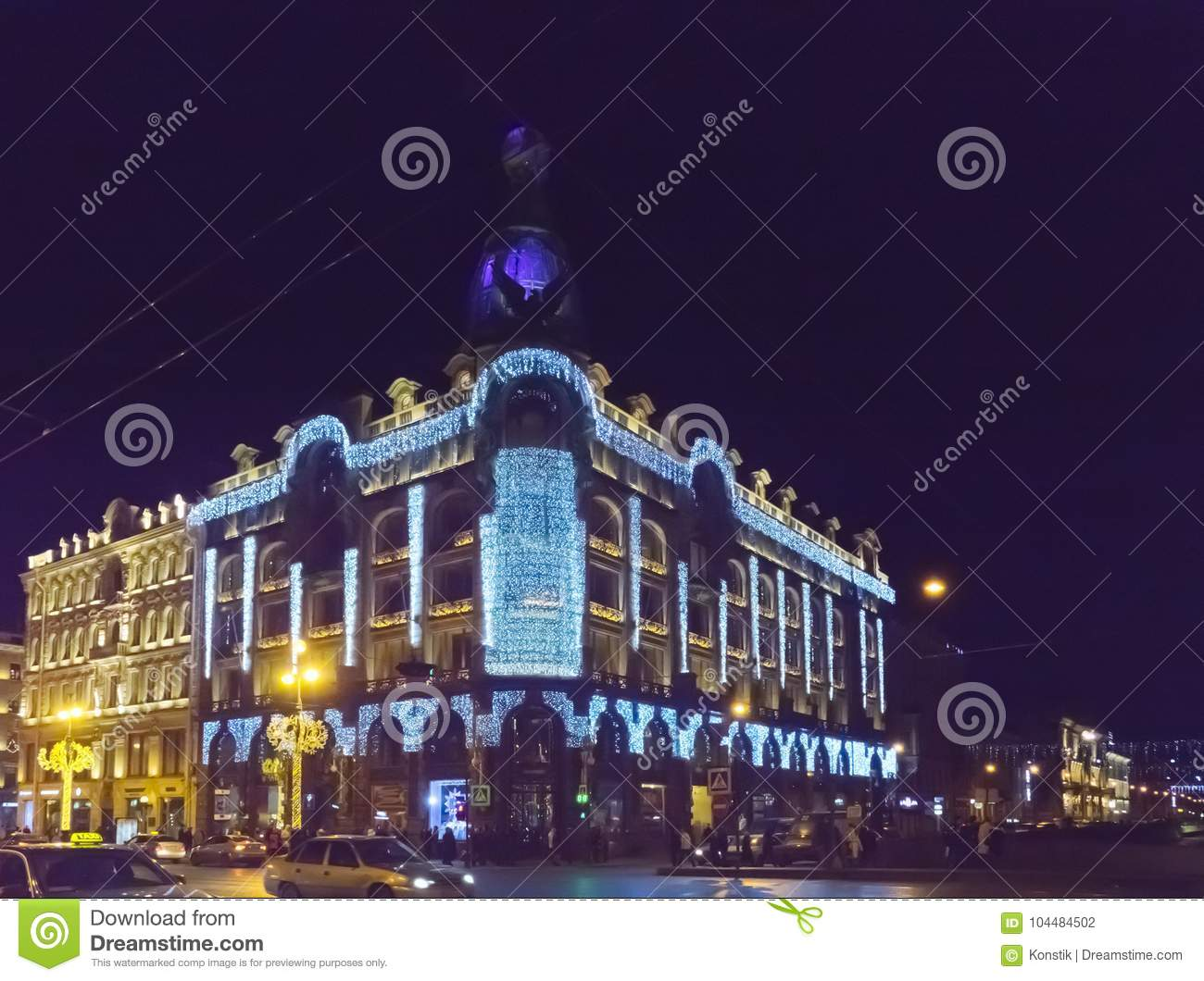 download evening city with new year and christmas decorations singer company house 1902 on nevsky