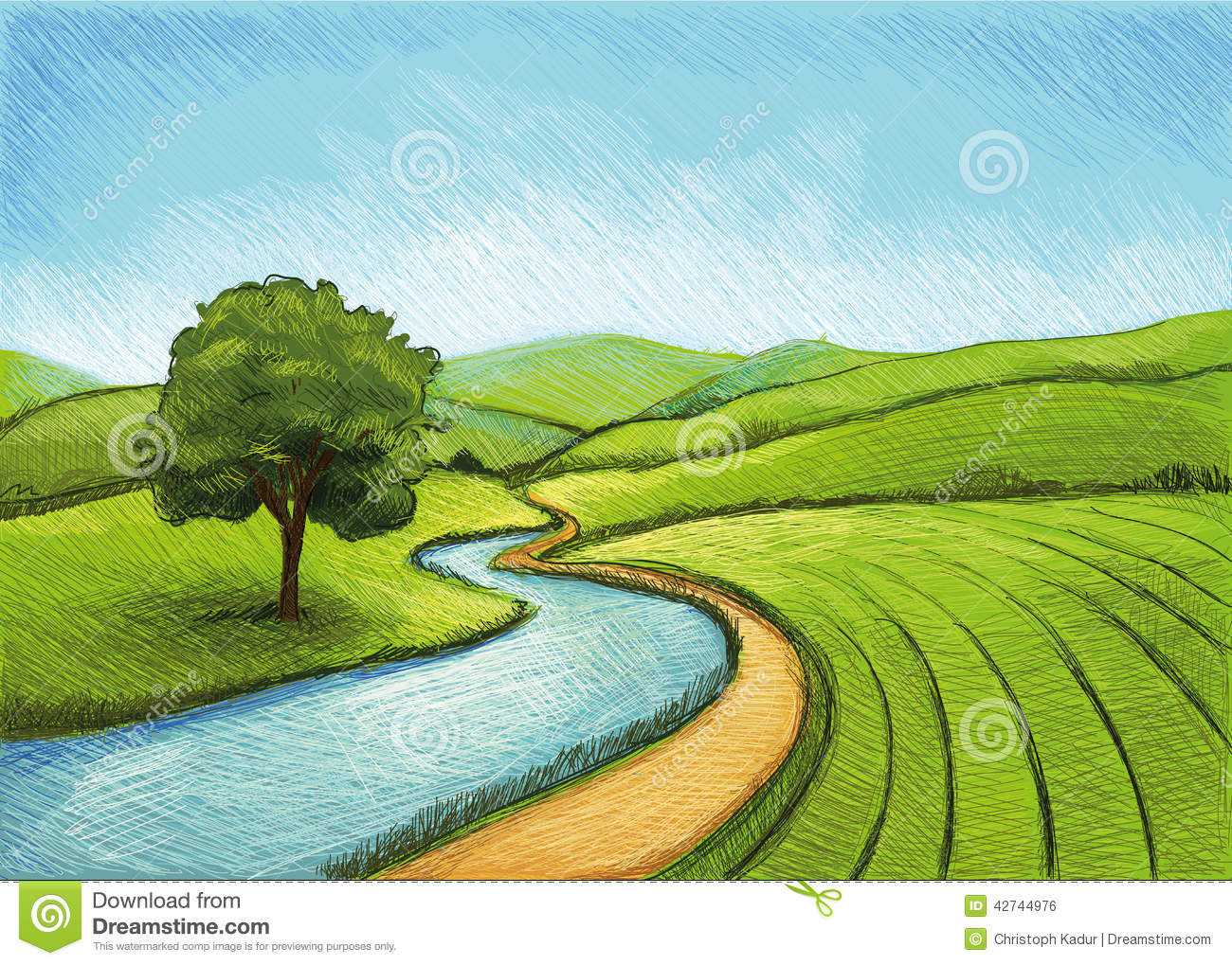Digital Drawing Landscape with Trees, Plants, Agriculture and a River.