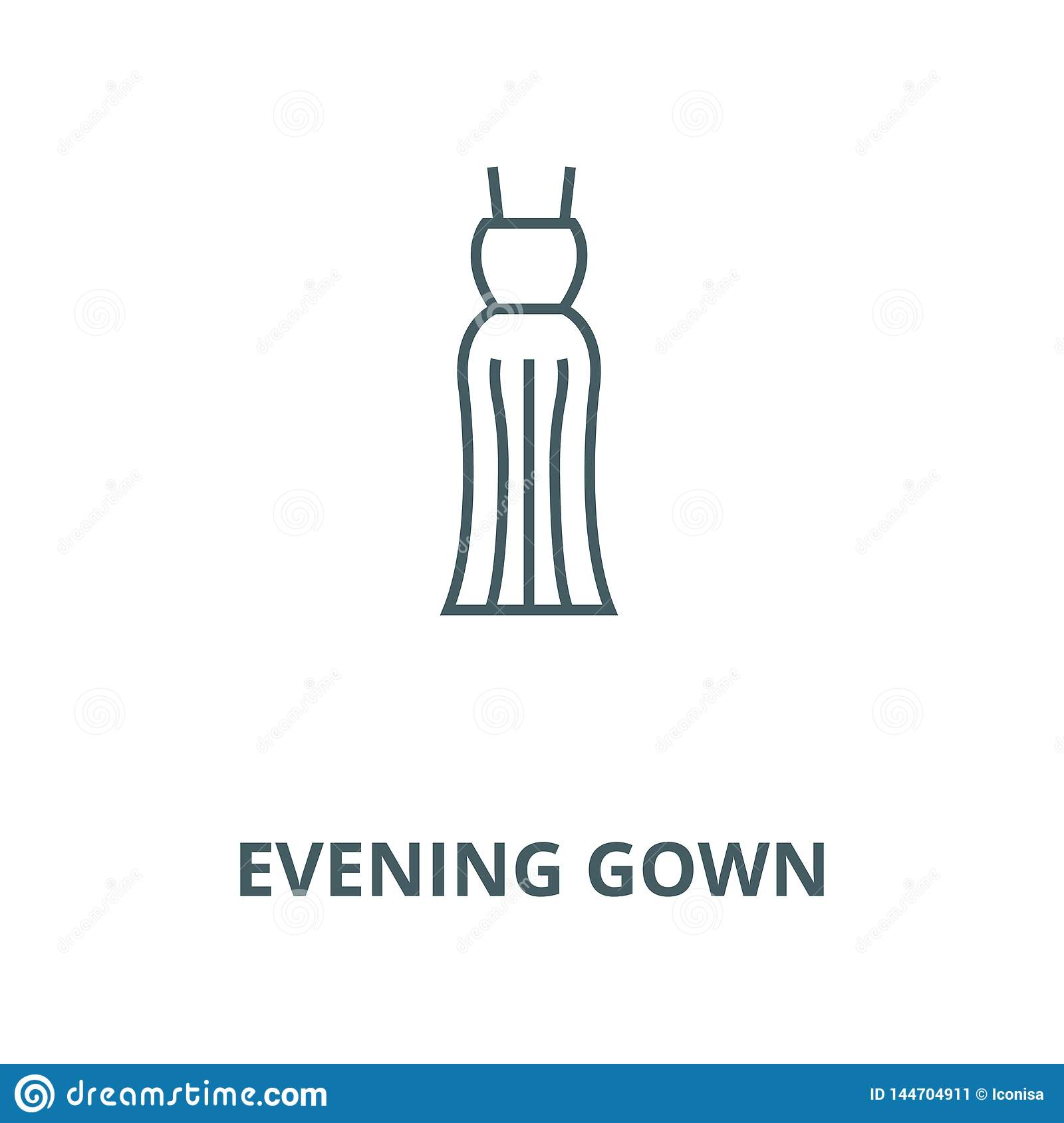 Evening gown line icon, vector. Evening gown outline sign, concept symbol, flat illustration