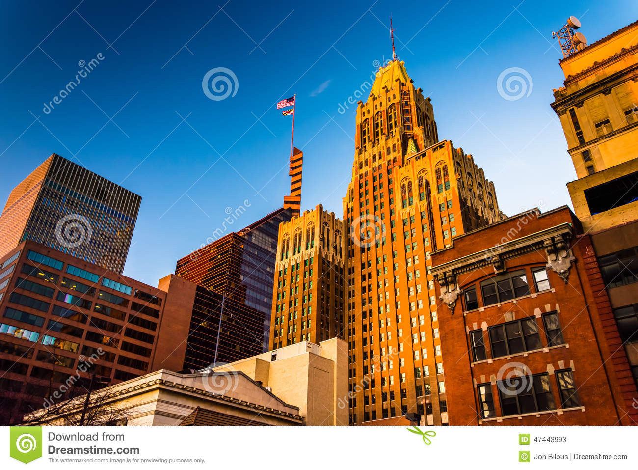 Evening light on a cluster of buildings in downtown Baltimore, M