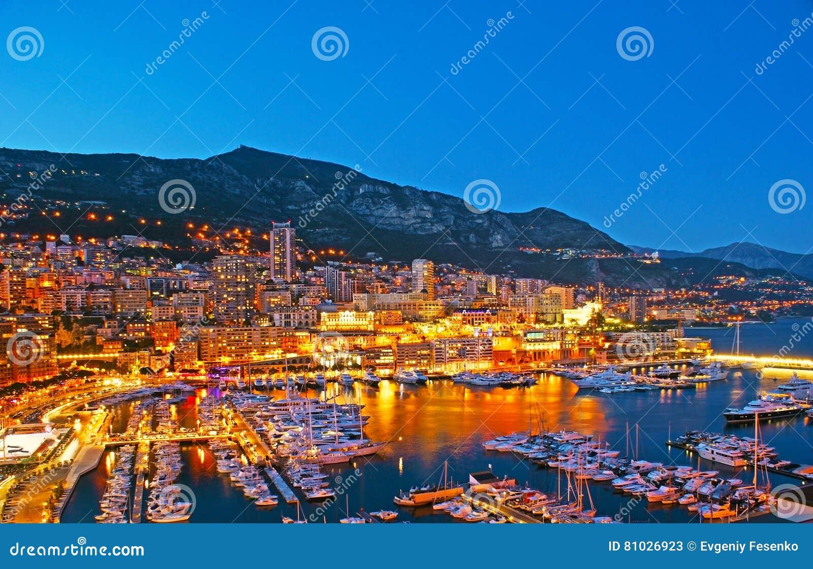 The evening lights of Monaco