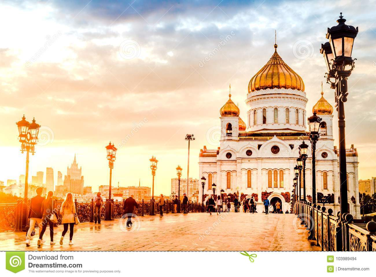 Moscow Russia - September 14, 2017 Evening mood of a sunset on the Patriarchal bridge near Christ the Savior Cathedral.