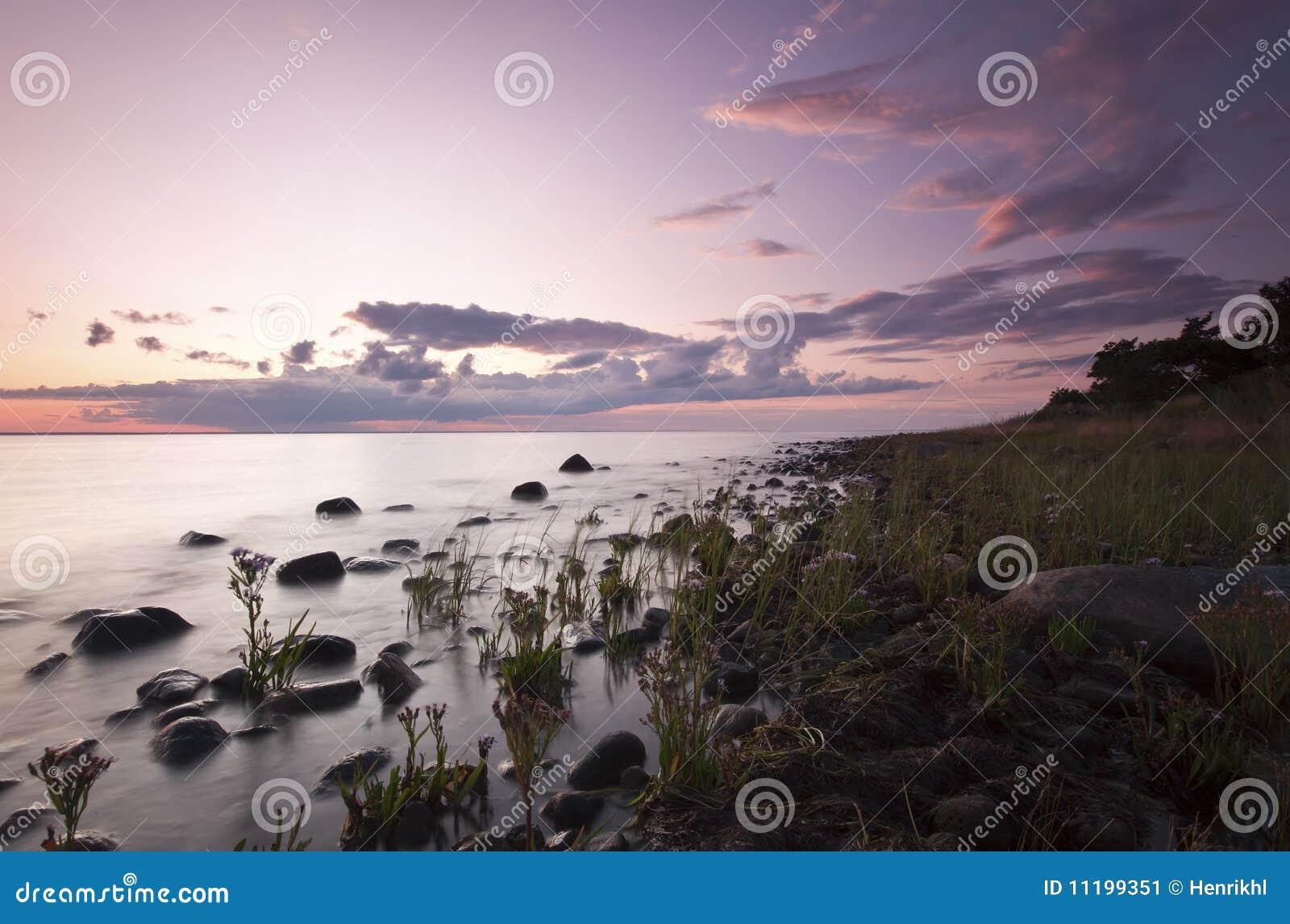 Evening ocean scene.