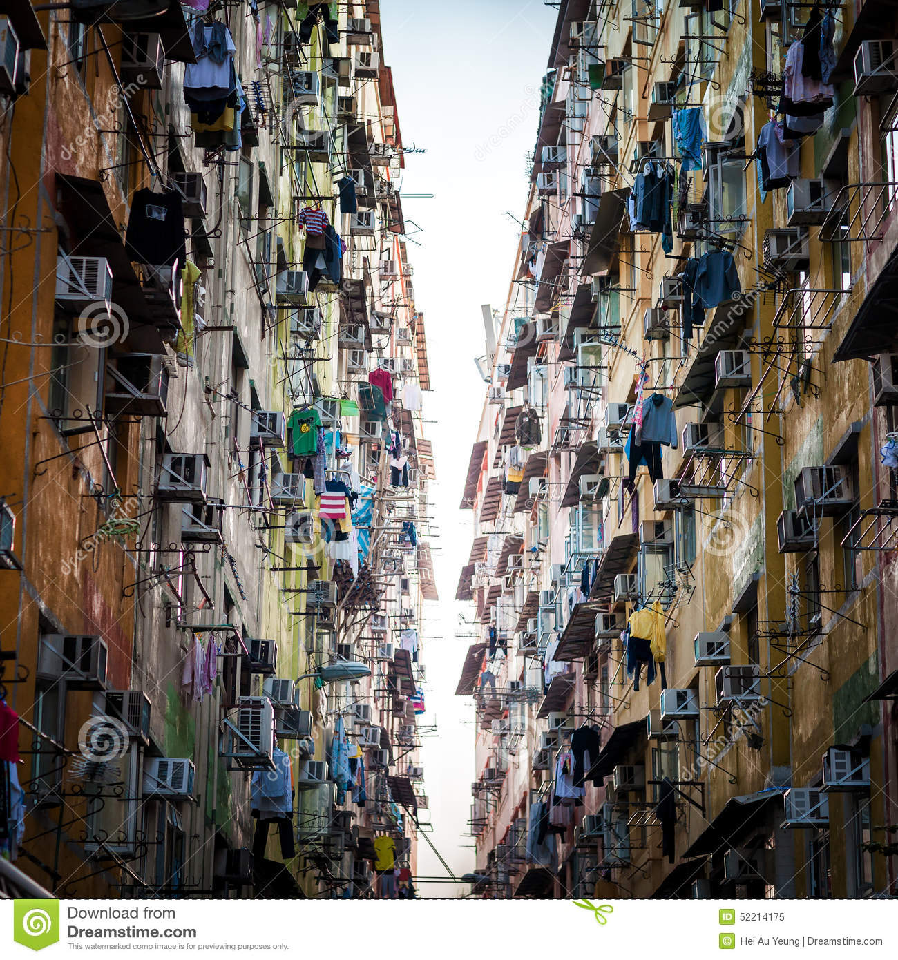 Hong Kong Apartments: Evening Of Old Compact Apartments In Hong Kong Stock Image