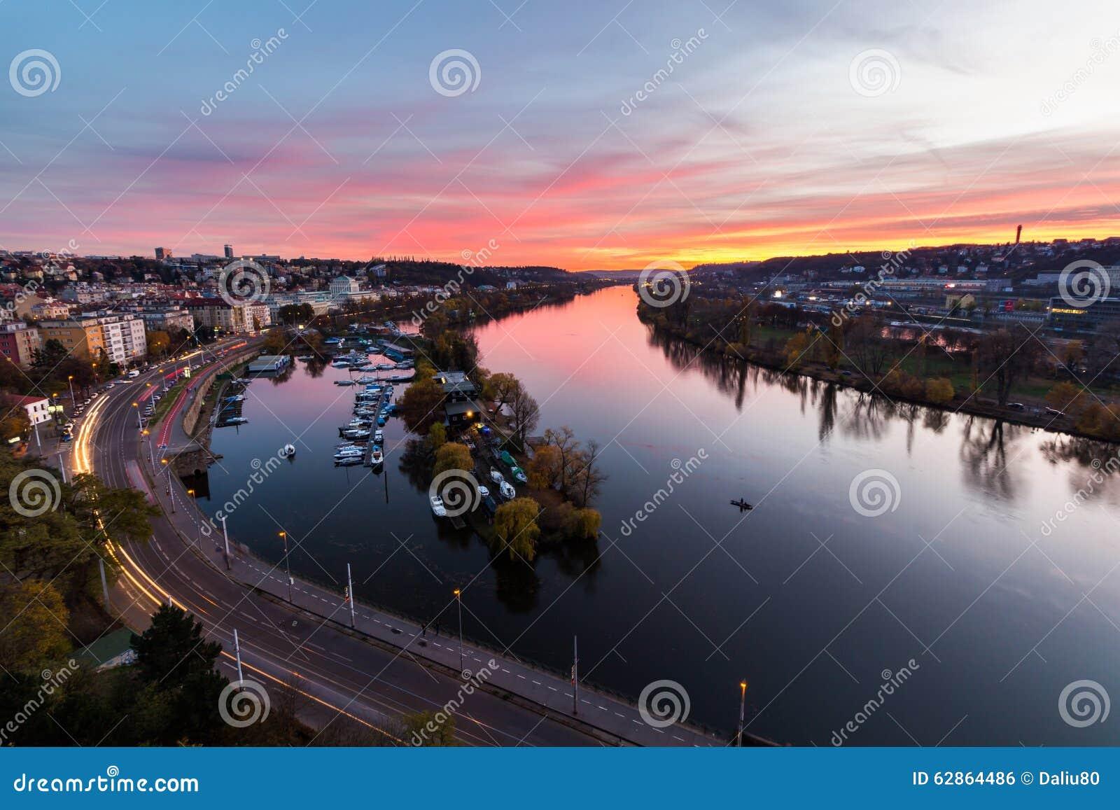 Evening Prague scene over Vltava/Moldau river in Prague taken from the top of Vysehrad castle, Czech Republic