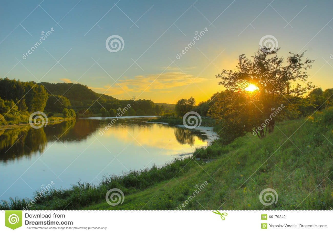 Evening In The River Hill Stock Photo Image 66179243