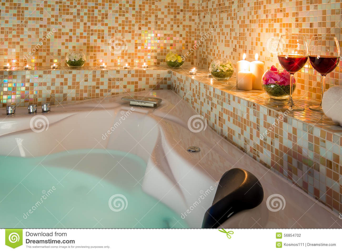 Evening romantic bath stock photo image of evening glass for Romantic bathroom designs for couples
