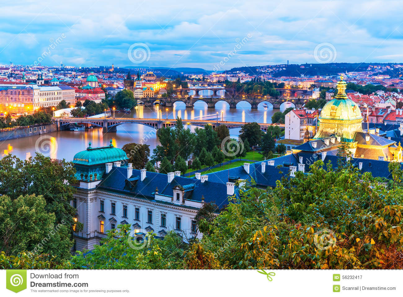 Evening Scenery Of Prague Czech Republic Stock Photo