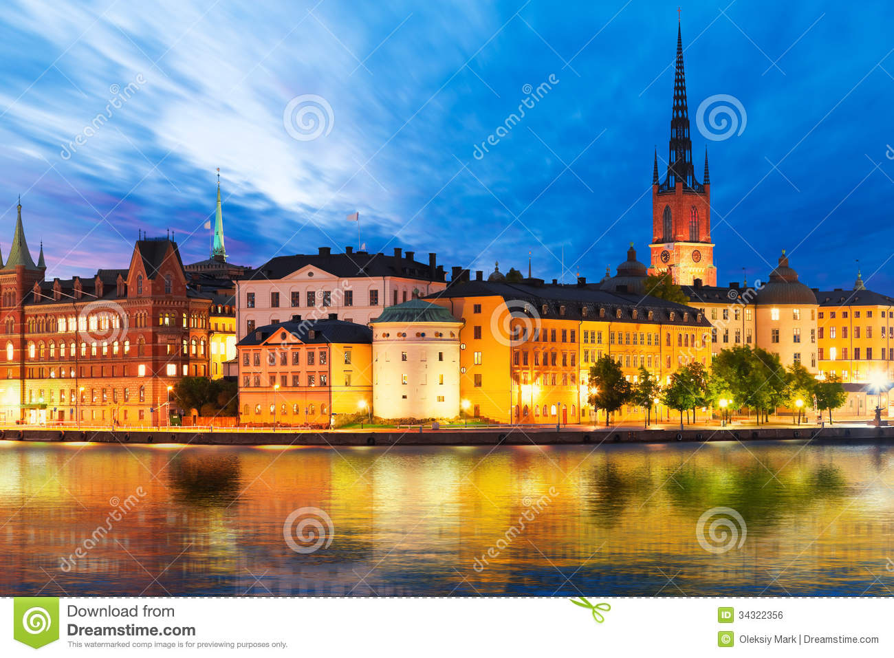 Evening Scenery Of Stockholm Sweden Royalty Free Stock