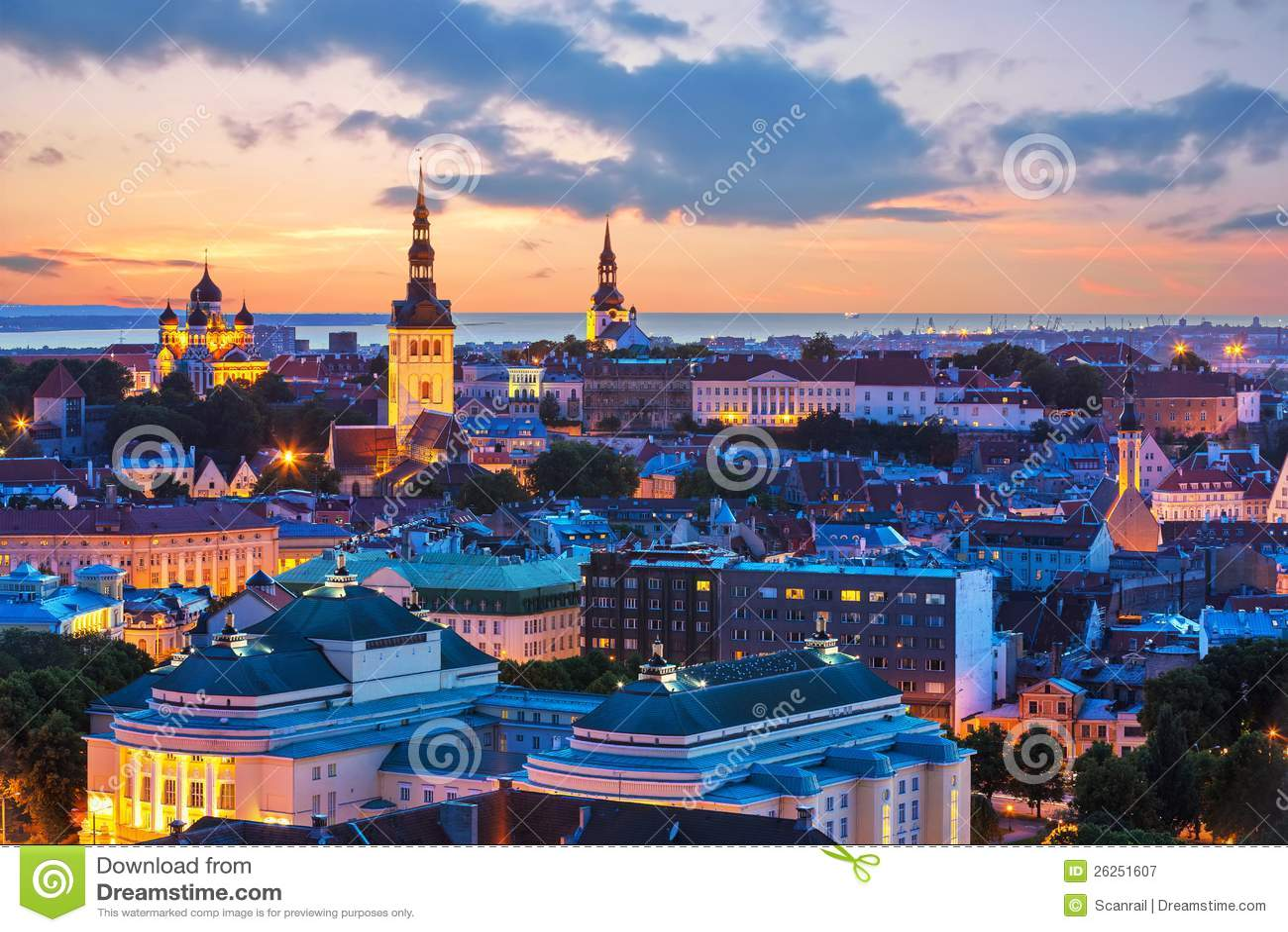 Evening scenery of Tallinn, Estonia