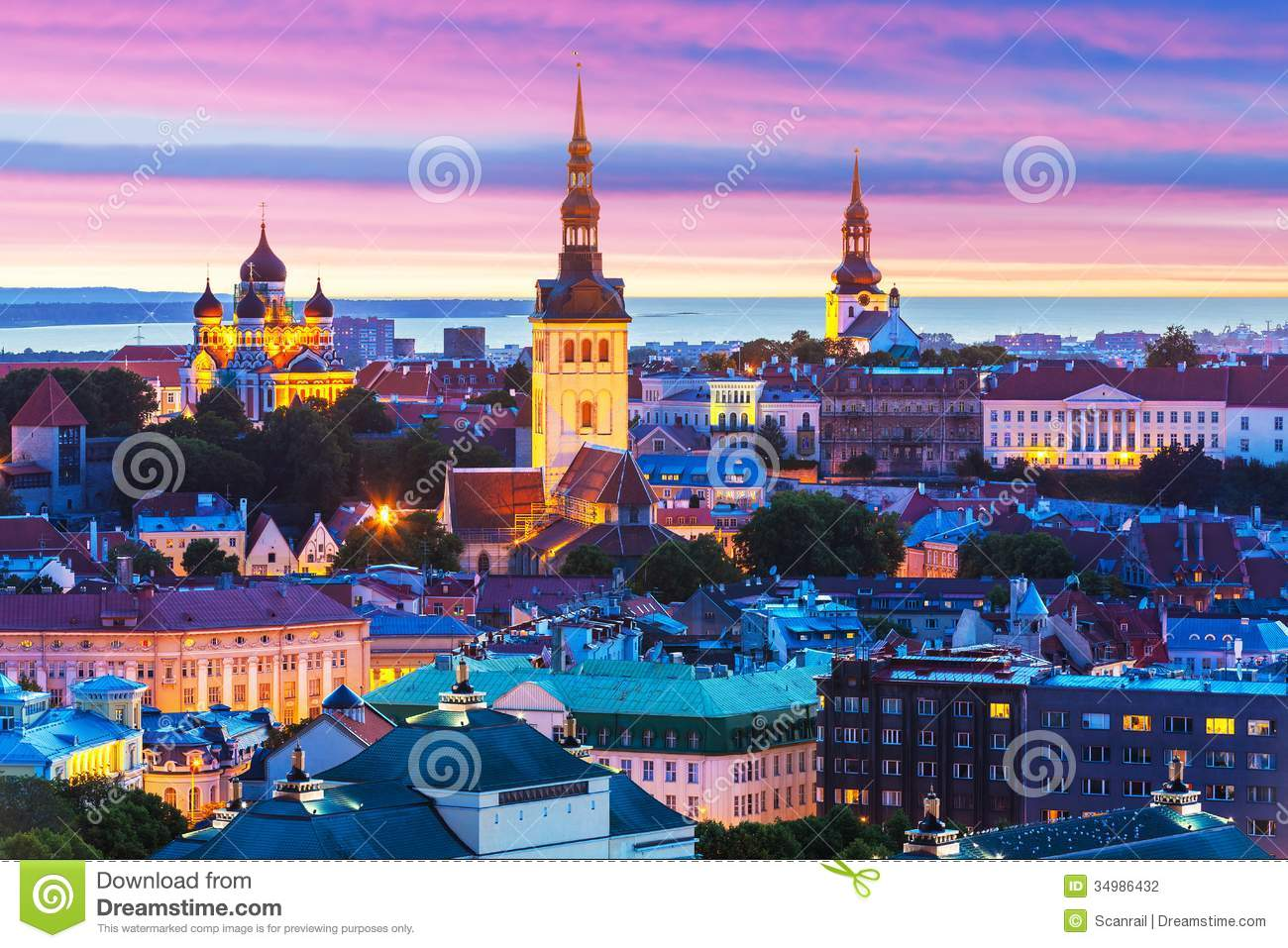 Evening scenic summer aerial panorama of the Old Town architecture in ...