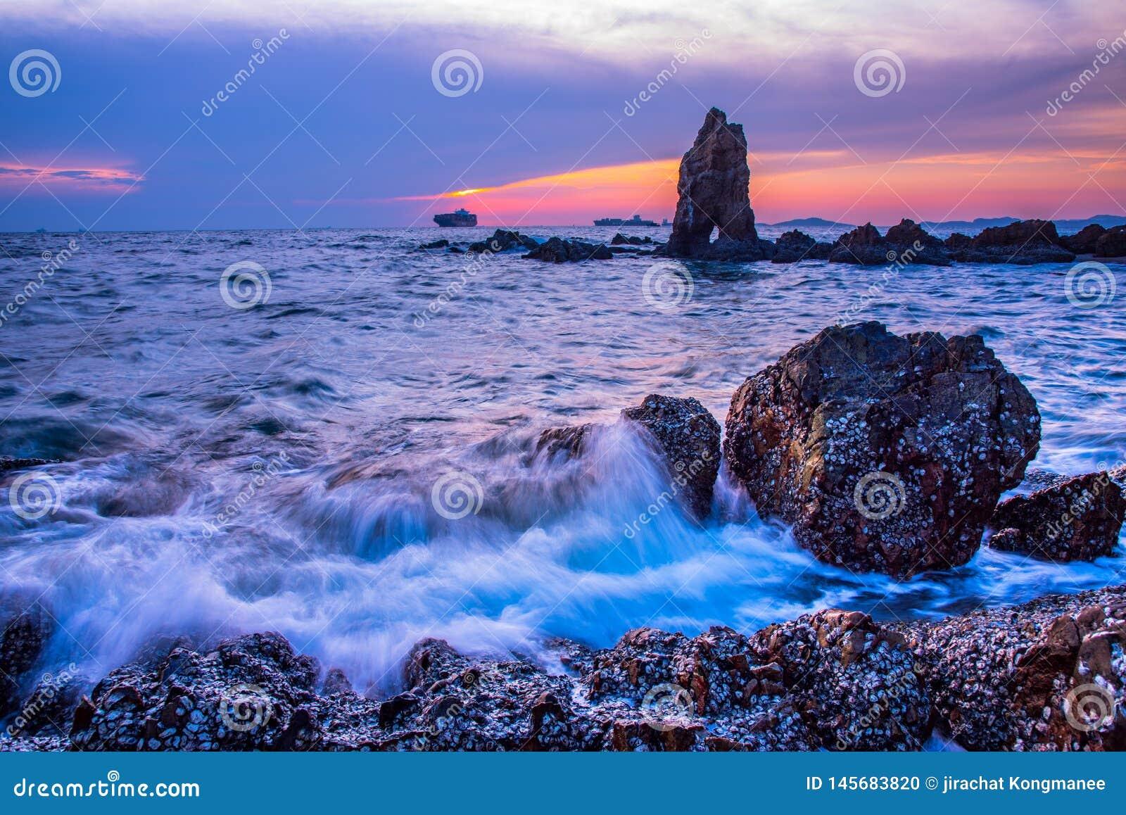 Evening sea on blue sky
