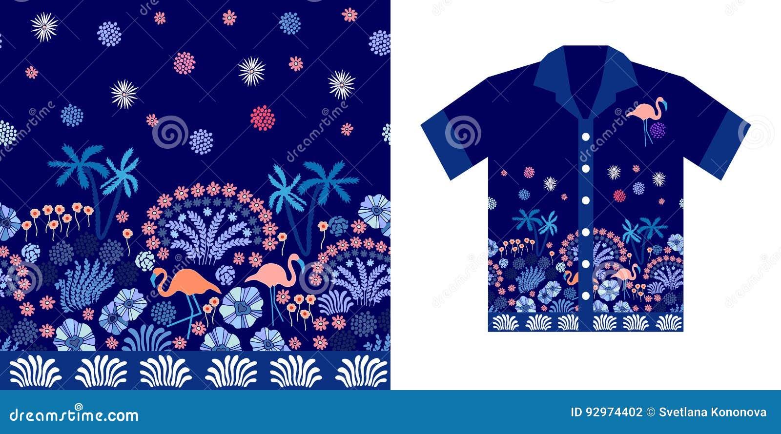 140f66a3 Evening Sky. Hawaiian Shirt Design. Stock Vector - Illustration of ...