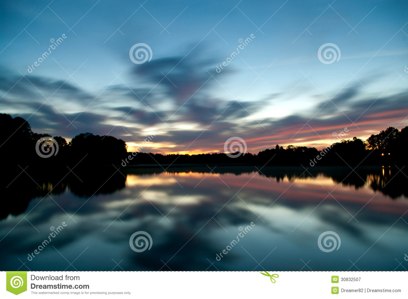 The evening sky reflecting in the water