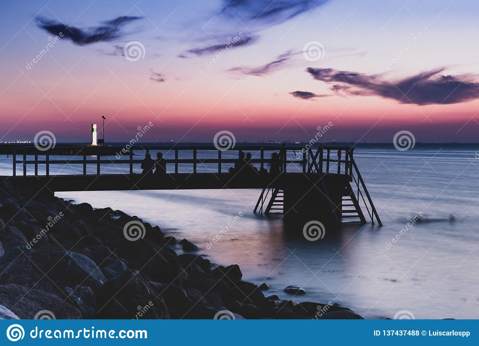 Evening Swim In Cold Waters Stock Photo - Image of outdoor, purple