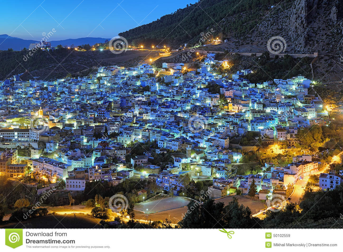 Evening View Of Chefchaouen Morocco Stock Photo Image