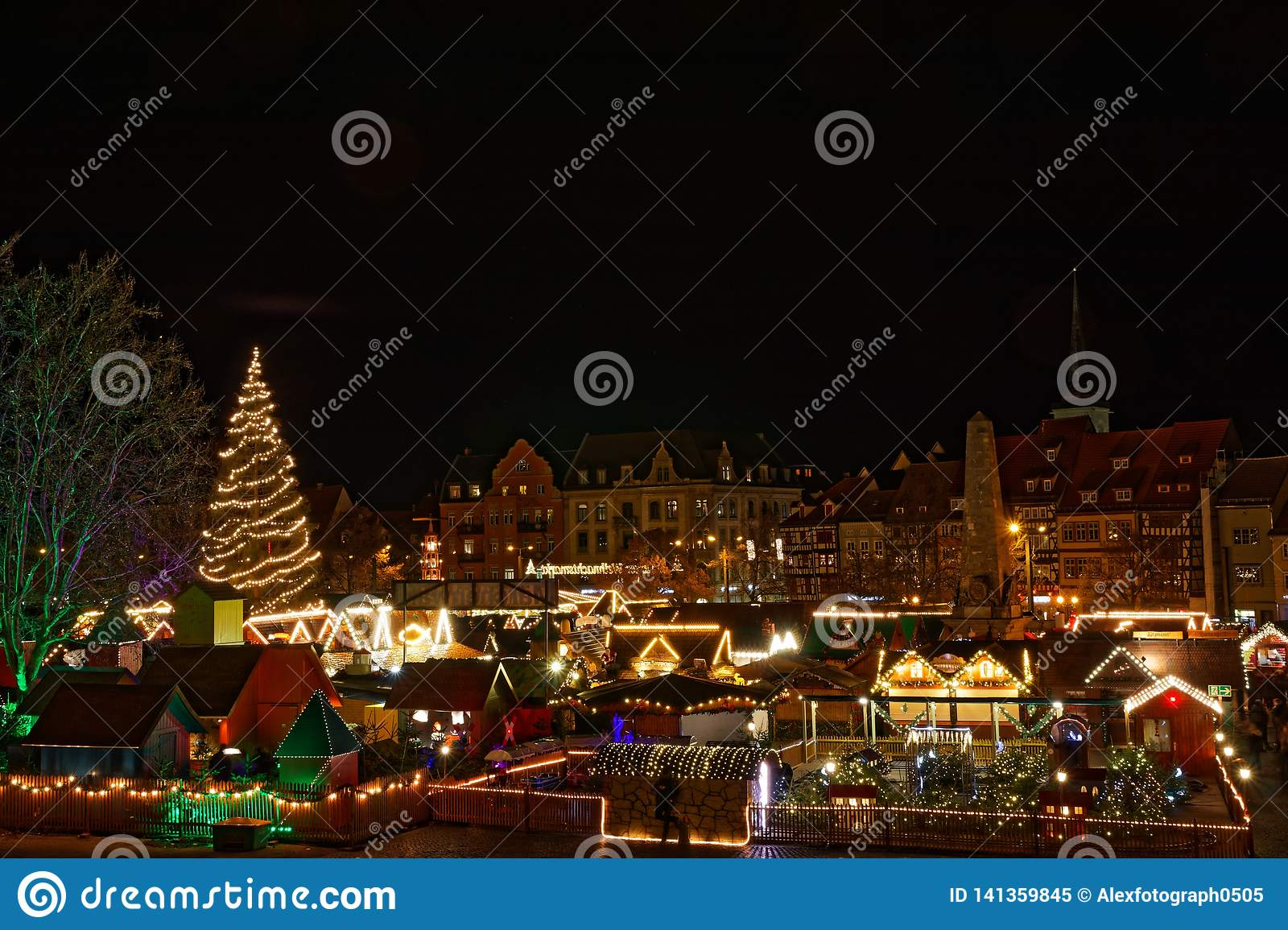 View over christmas market in Erfurt