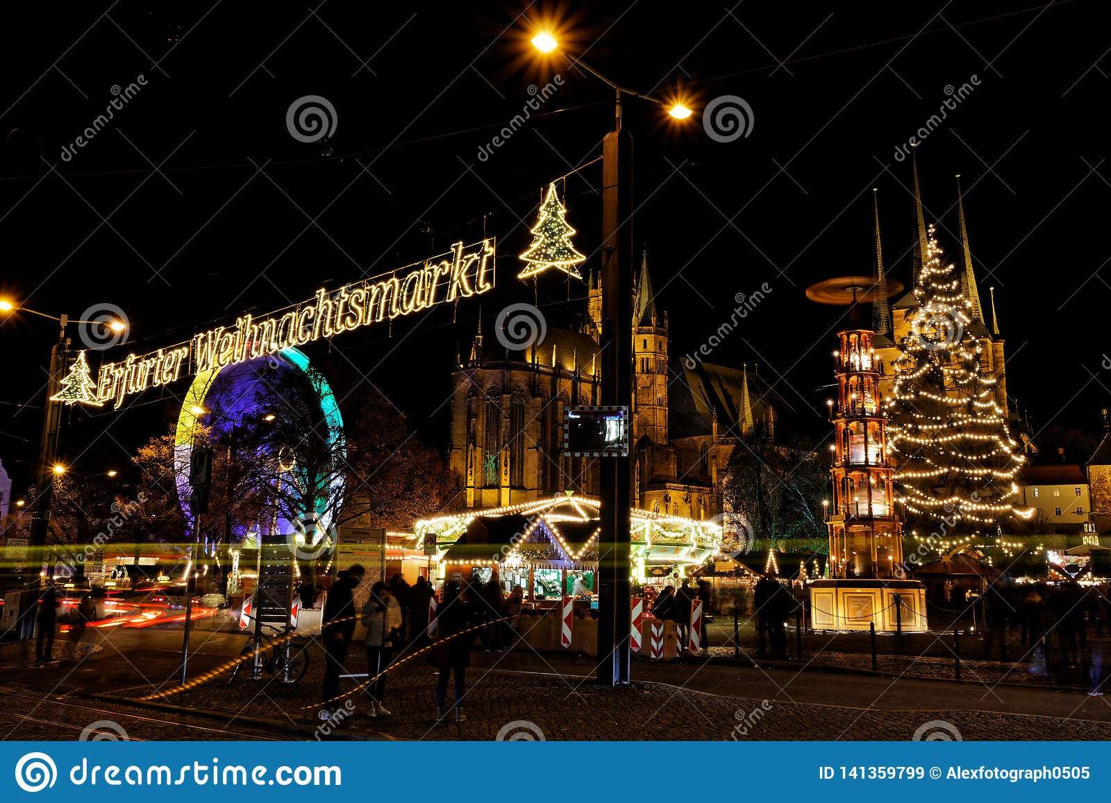 View over christmas market in Erfurt