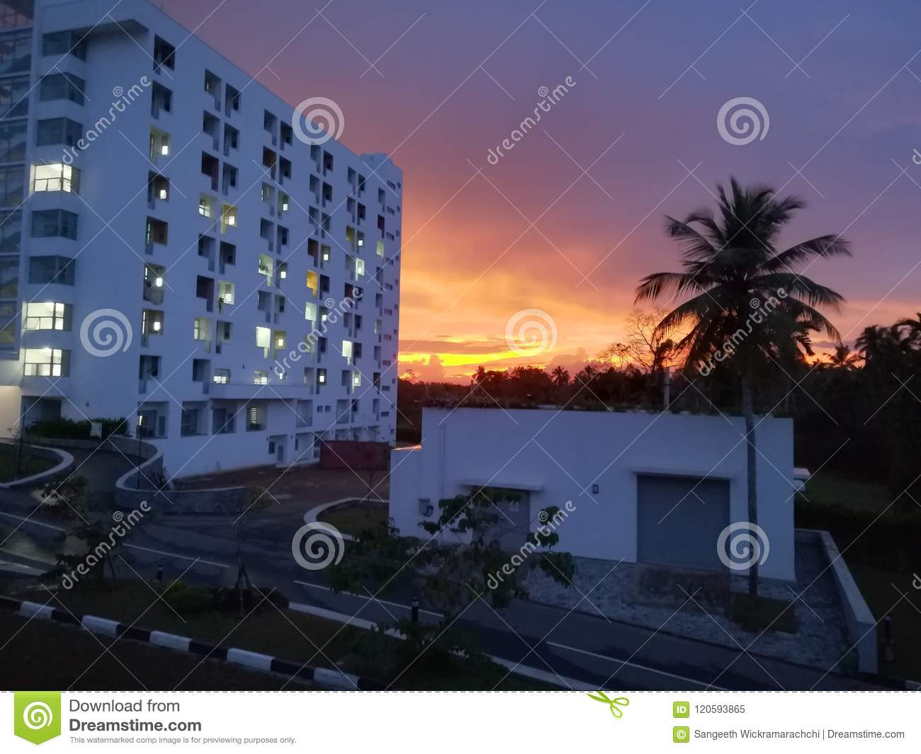 Evening View Stock Image Image Of View Evening University 120593865