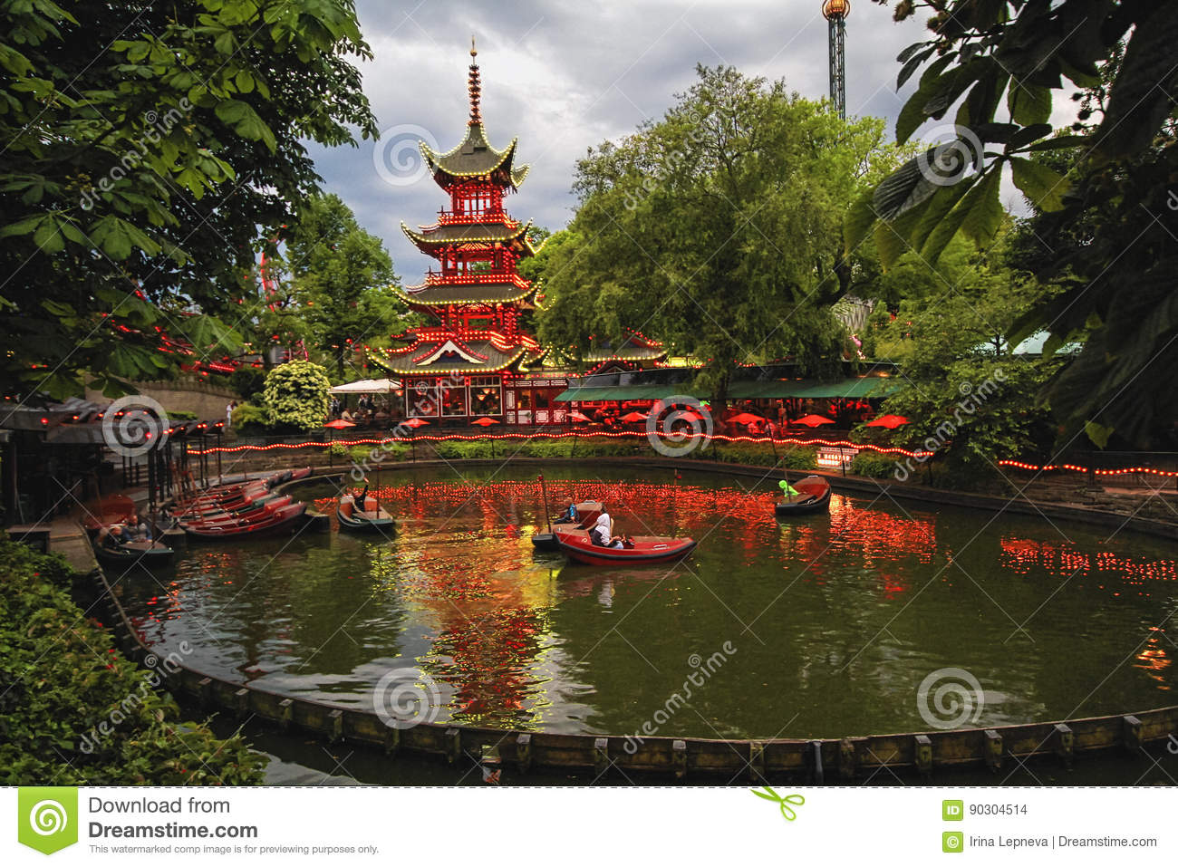 Evening View Of Tivoli Gardens With Chinese Pagoda Editorial Stock ...