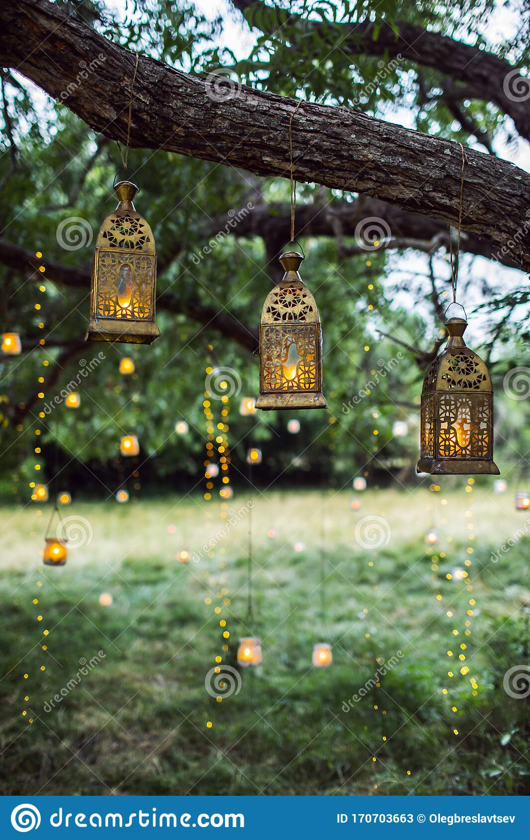 Evening Wedding Ceremony With A Lot Of Vintage Lanterns Lamps Candles Stock Image Image Of Celebration Green 170703663