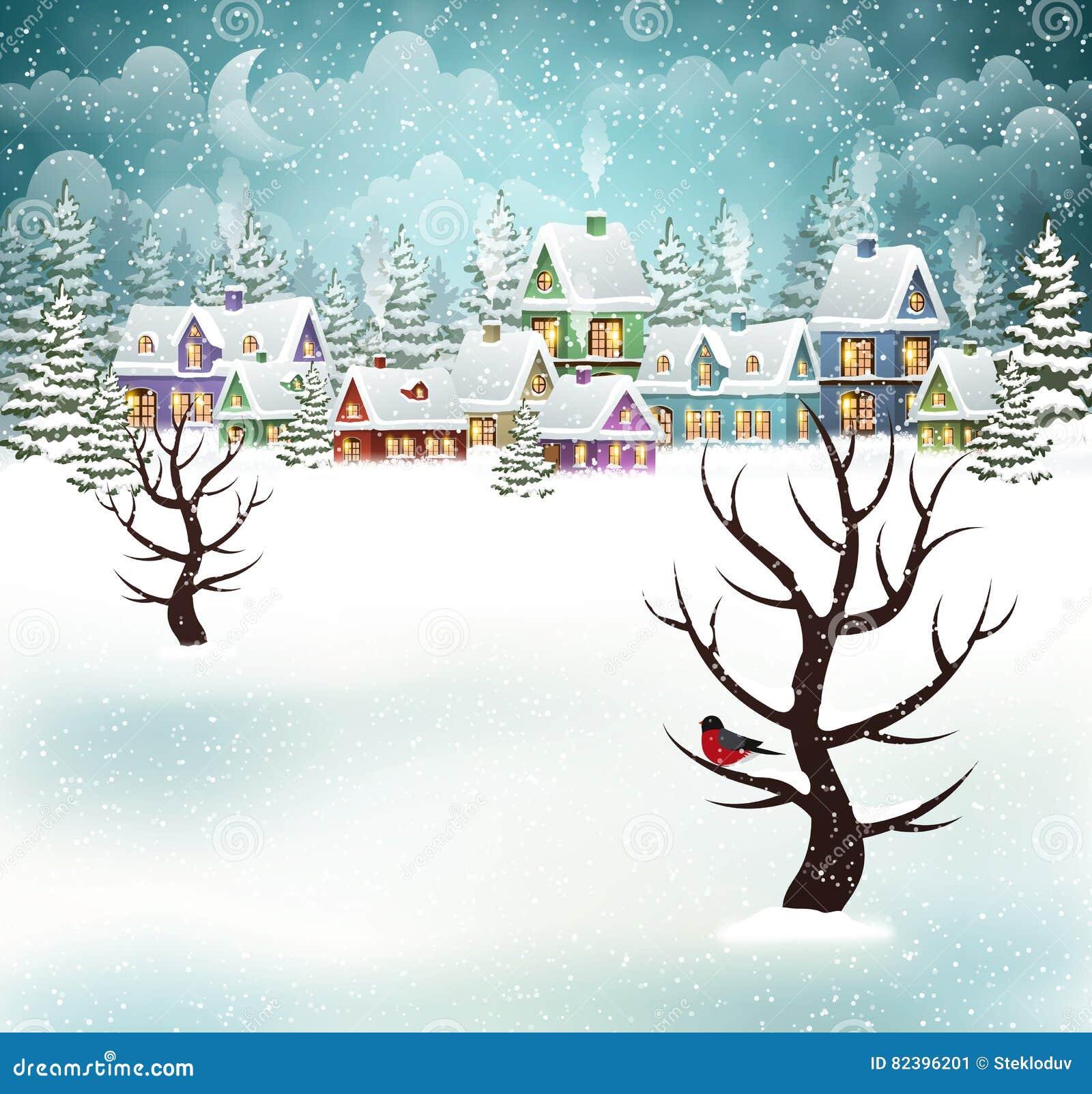 Evening winter village scene