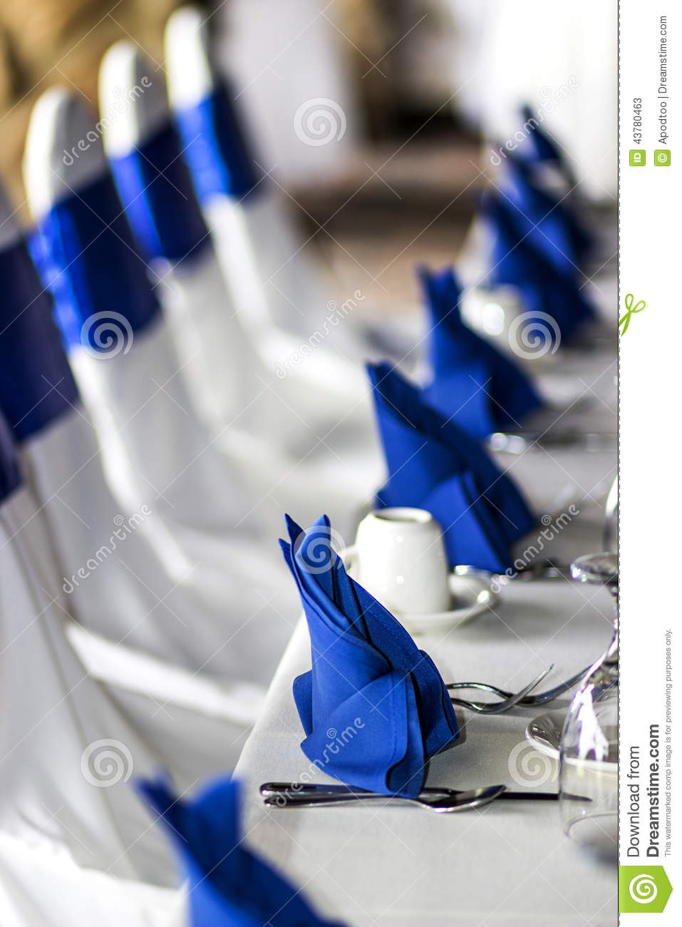 Stock Photo Event Banquet Table Napkins Chair Covers Place Settings Wedding Reception Brunch Royal Blue Line White Image43780463 on banquet chairs for less