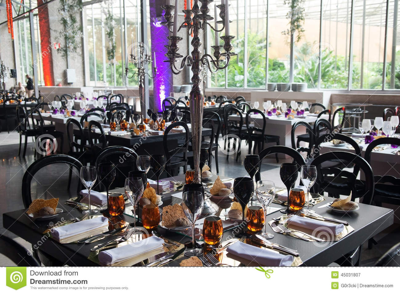 Event Banquet Tables Decoration Stock Image