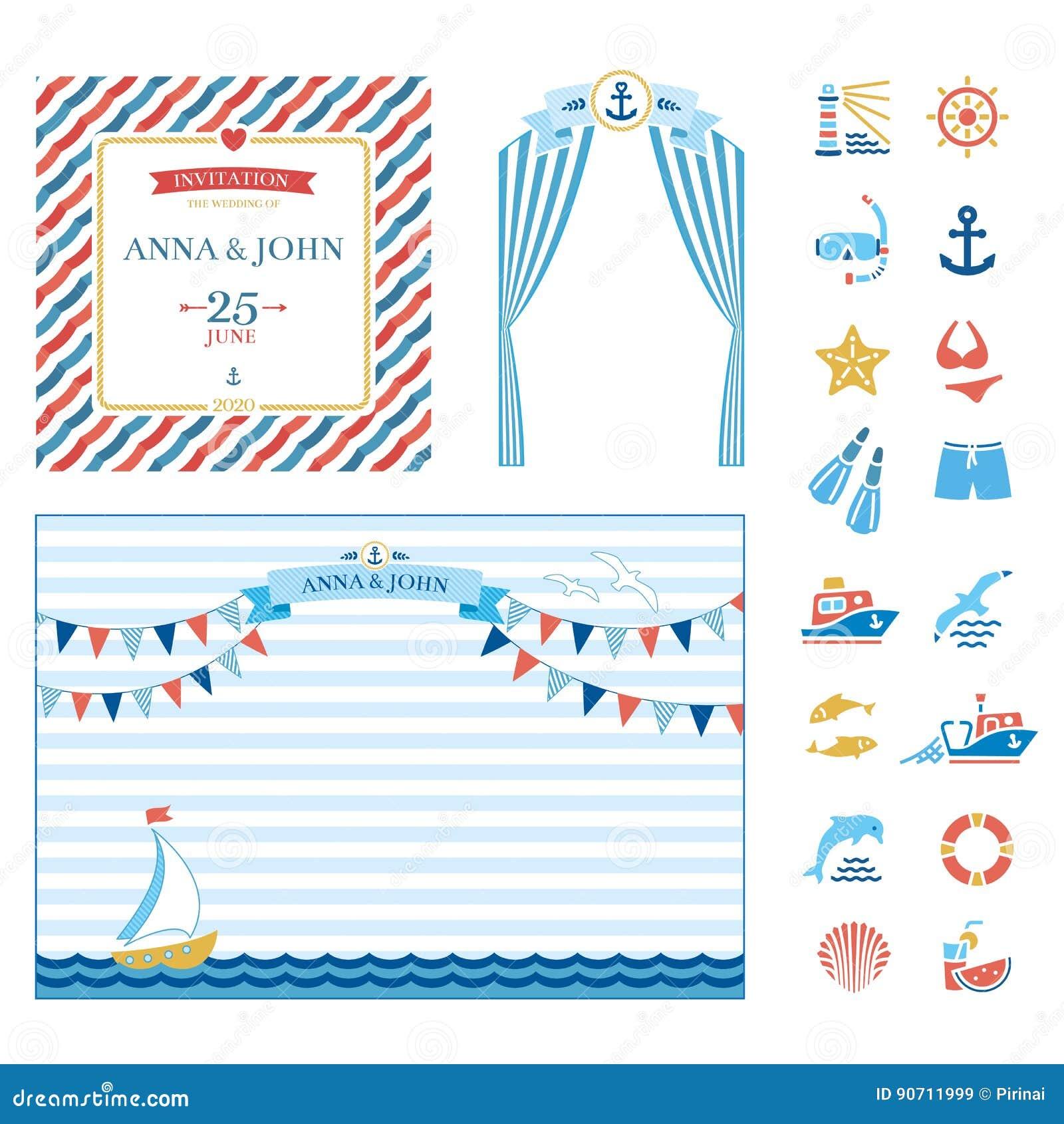 Marine Wedding Invitations: Event Elements Marine Nautical Wedding Invitation Stock