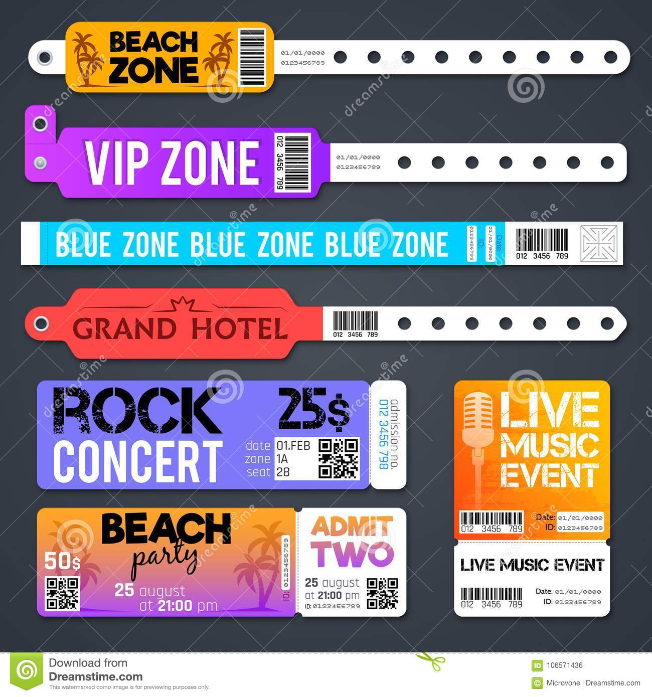 Event Entrance Vector Bracelets And Stadium Zone Admission Tickets Templates Isolated
