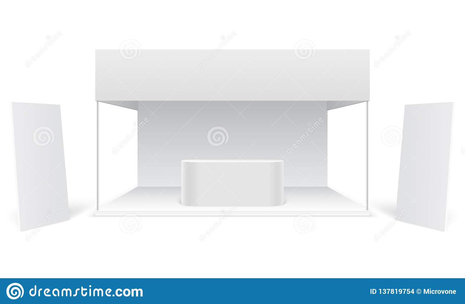 Exhibition Stall Mockup : Event exhibition trade stand. white promotional advertising booth