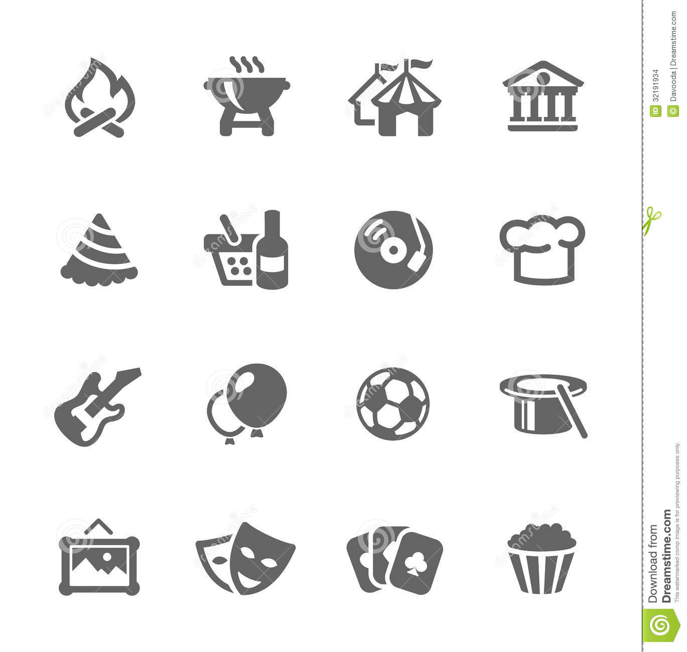 Simple set of events related vector icons for your design and ...