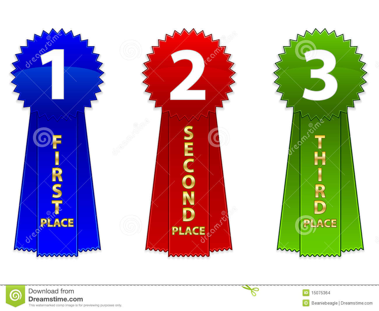 ... of a first, second and third place event ribbons. Available in EPS