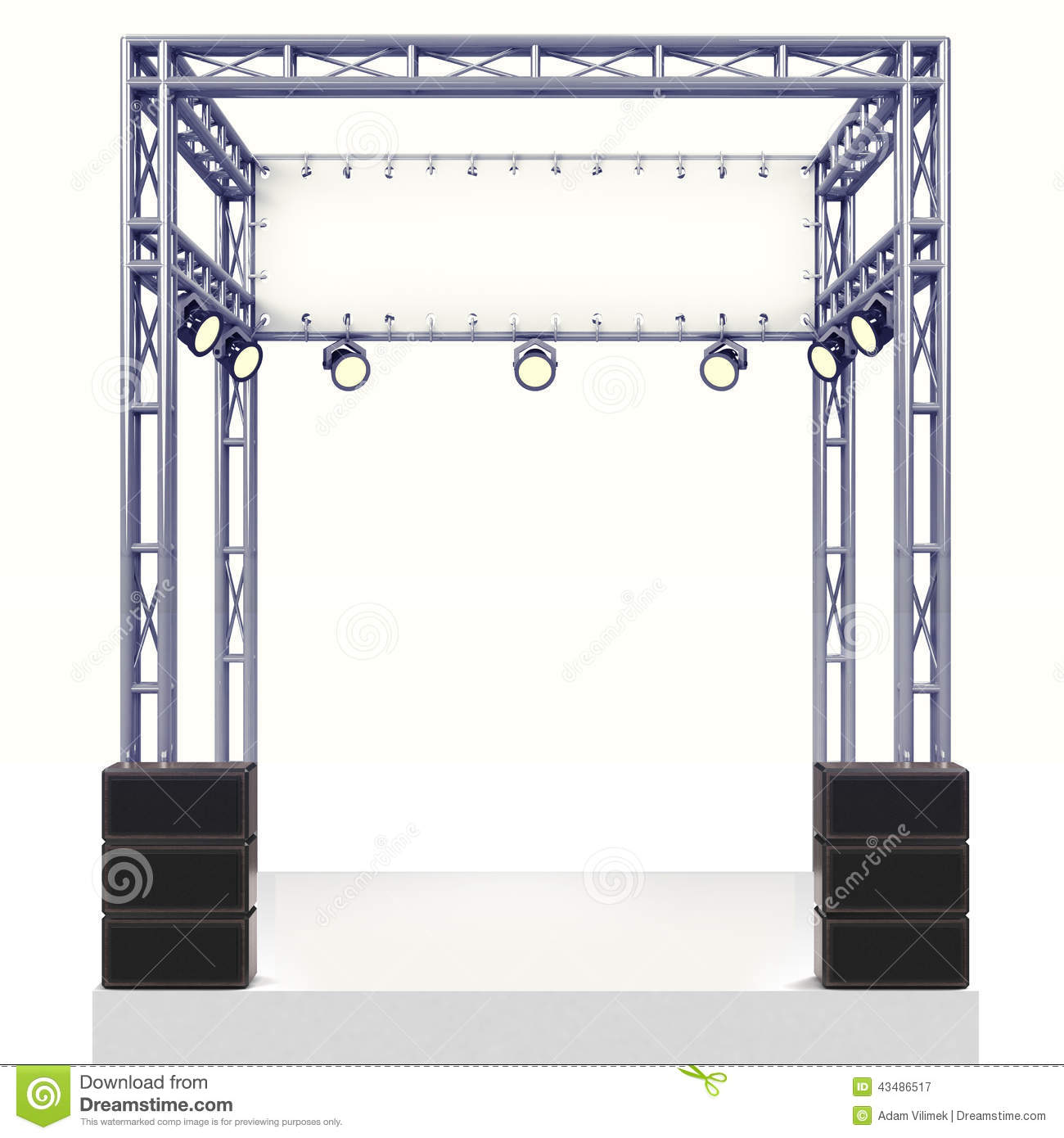 Staging Of Steel Images : Event stage steel construction with speaker on white stock