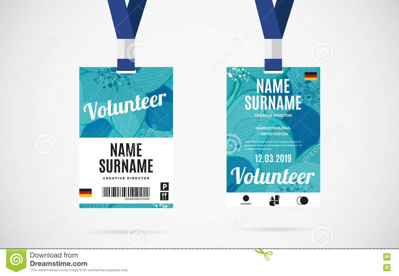 Press pass tag illustration design royalty free cartoon for Event name tag template