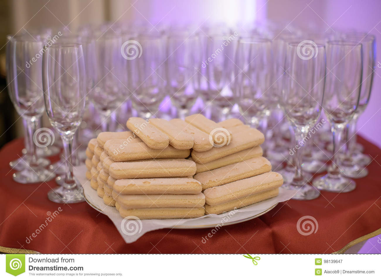 Table Arrangement Featuring Empty Flutes For Champagne And Lady ...