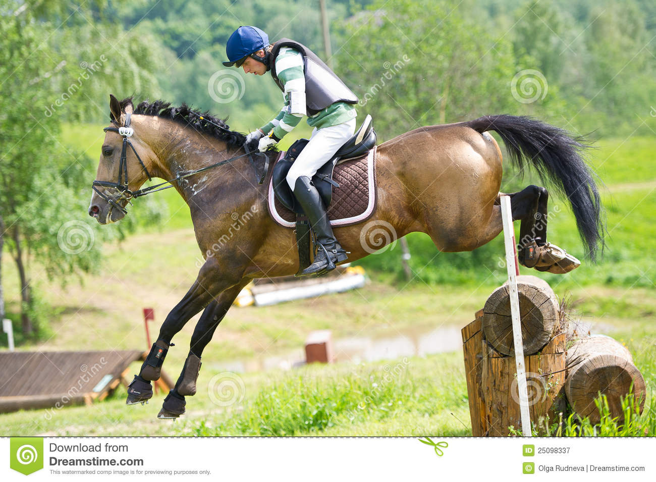 Man On Jumping Horse Negotiating Log Fence Editorial Photography Image Of Course Brave 25098337