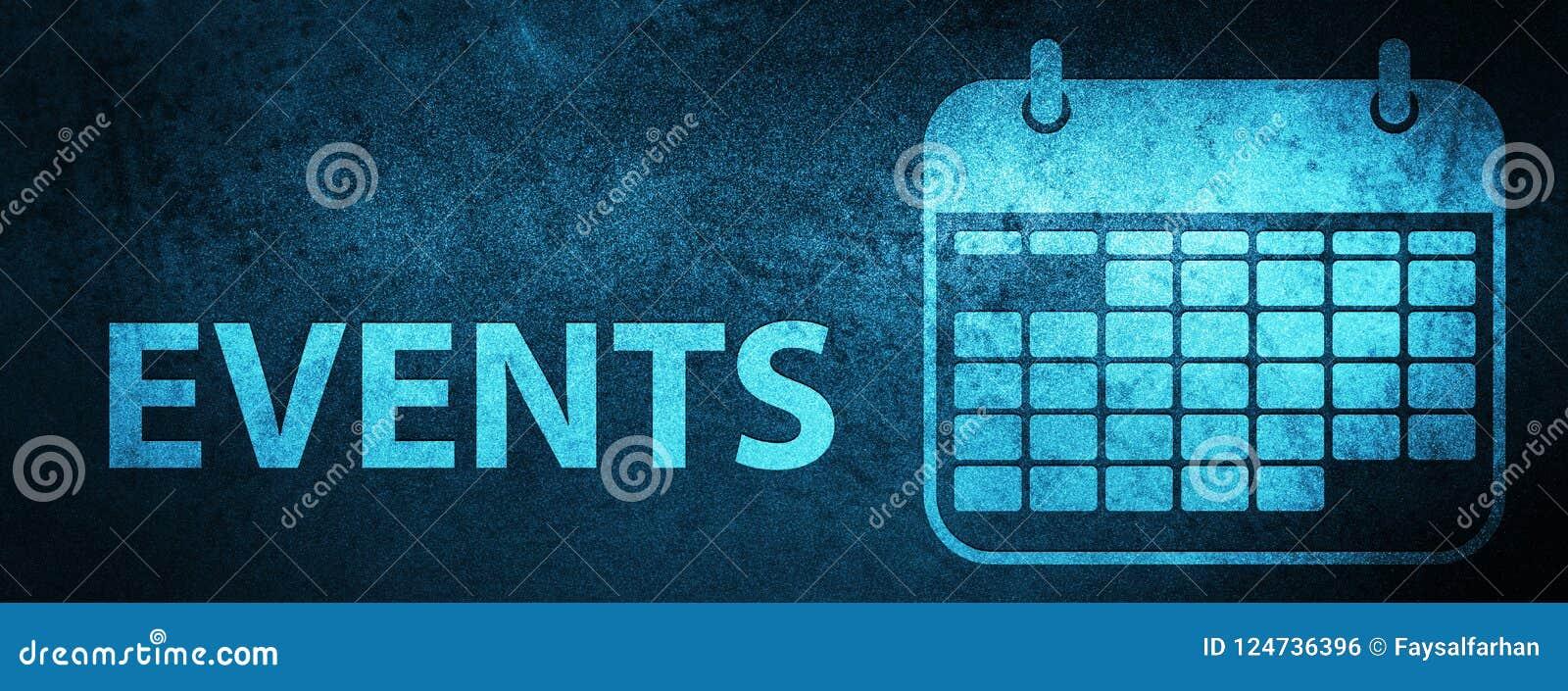 Events Calendar Icon Special Blue Banner Background Stock Illustration Illustration Of Calendar Symbol 124736396