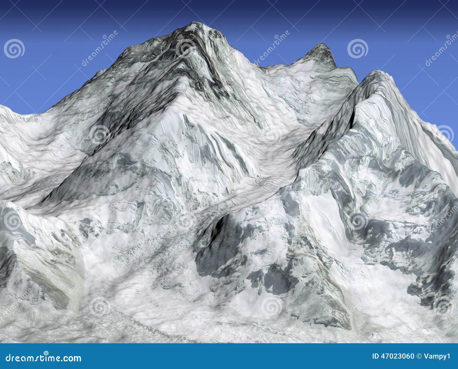 Everest góra, satelitarny 3d widok