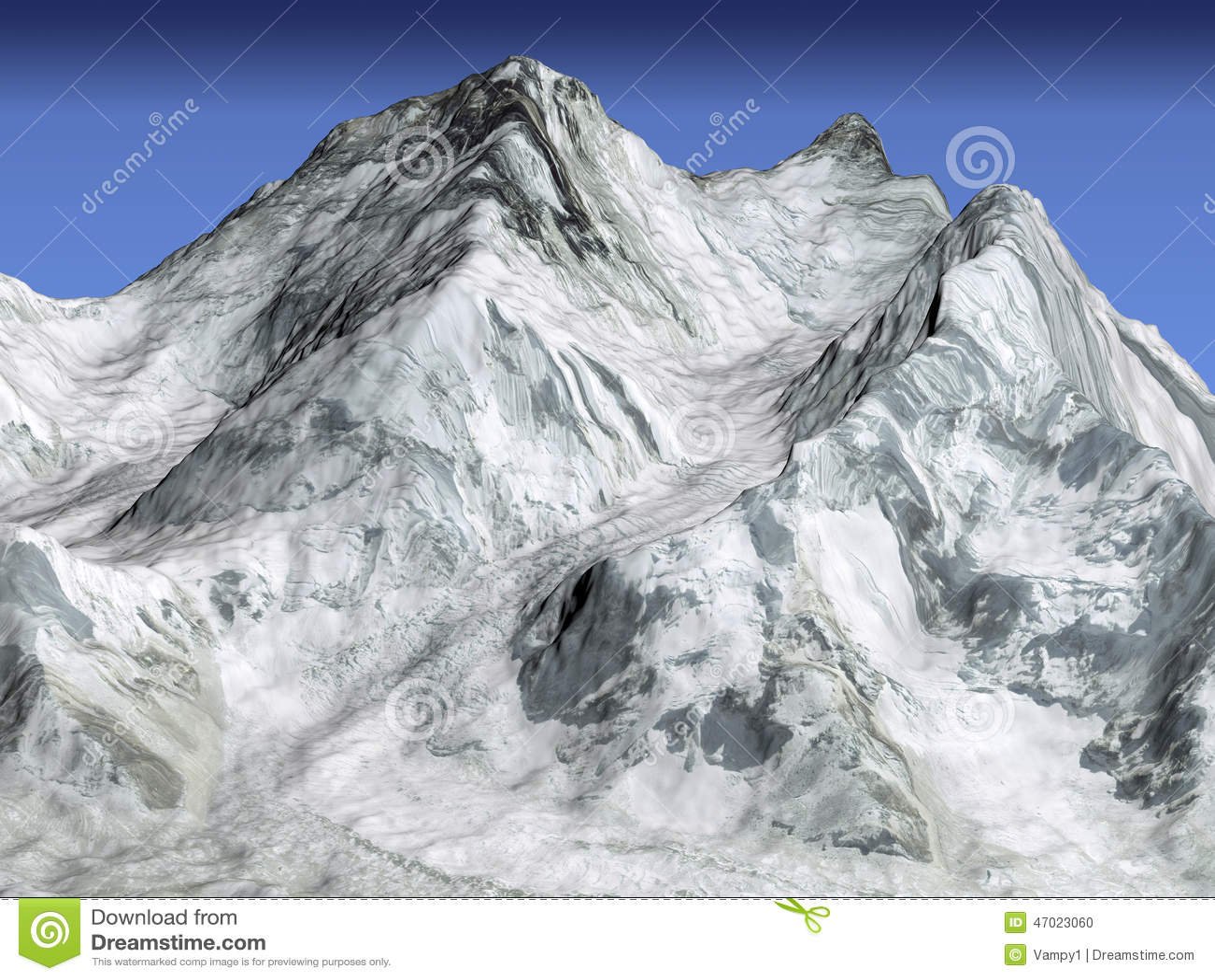 Everest Mountain Satellite 3d View Stock Illustration