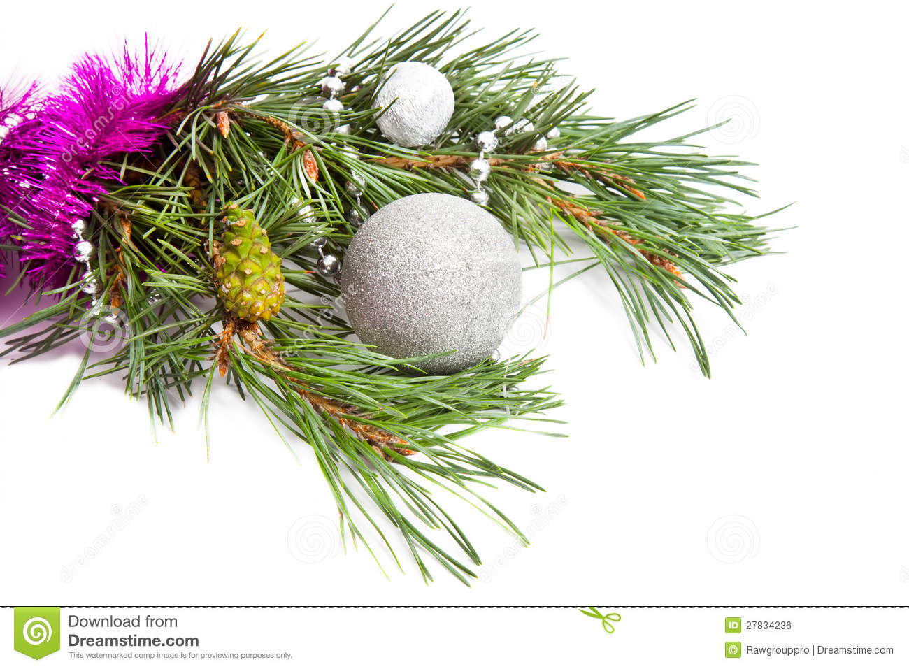 Evergreen branch with pink tinsel and silver ball and beads Evergreen Branch